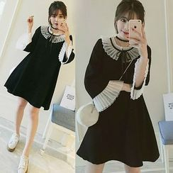 NEUF - Long-Sleeve Pleated A-Line Dress