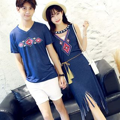 Azure - Couple Matching Print T-Shirt / Fringe Hem Sleeveless Dress