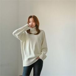 Styleberry - Turtle-Neck Plain Sweater