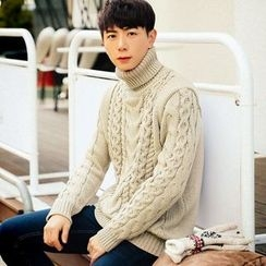 MEOSIDDA - Turtle-Neck Cable-Knit Sweater
