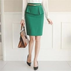 ode' - Peplum Pencil Skirt with Belt