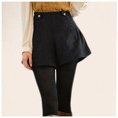 LITI - 高腰毛呢短裤
