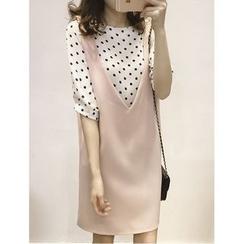 Oaksa - Set: Polka Dot Chiffon Blouse + Pinafore Dress