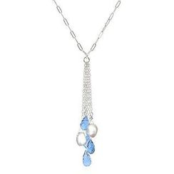 Keleo - Silver, Fresh Water Pearl, Blue Topaz Necklace