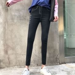 Lokin - Letter Embroidered Skinny Jeans