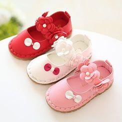 绿豆蛙童鞋 - 儿童仿珍珠花形带平跟鞋