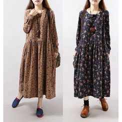 Epoch - Floral Print Long Sleeve Maxi Dress