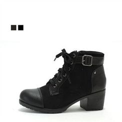MODELSIS - Zip-Side Lace-Up Boots
