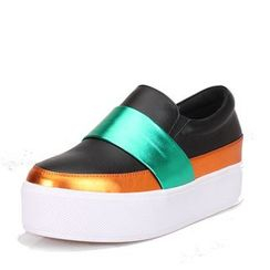 LARKSPUR - Genuine Leather Colour Block Platform Slip Ons