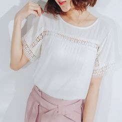 Tokyo Fashion - Short-Sleeve Lace-Panel Top