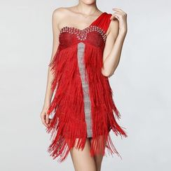 AIXI - Fringed Rhinestone One Shoulder Dance Dress