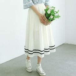 Bonbon - Striped Pleated Midi Skirt