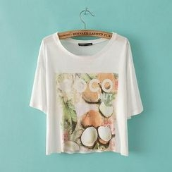 JVL - Short-Sleeve Coconut-Print Cropped T-Shirt