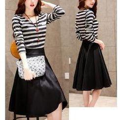 Sienne - Set: Long Sleeved Stripe Top + Skirt