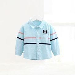 ciciibear - Kids Embroidered Stripe Long-Sleeve Shirt