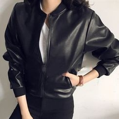 Lyrae - Faux Leather Bomber Jacket