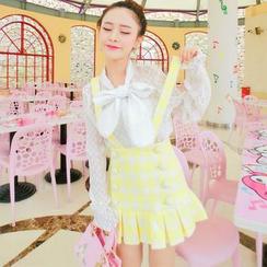 Hakanai - Plaid Pleated Suspender Skirt