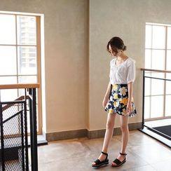 mimi&didi - Floral Linen Blend A-Line Mini Skirt
