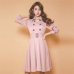 ERANZI - Epaulet Double-Breasted Belted Coatdress