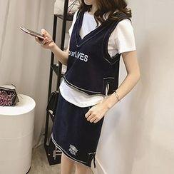 Little V - Set : Distressed Cropped Tank Top + Short-Sleeve T-shirt + Skirt
