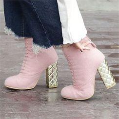 Picapica - Láme Block-Heel Lace-Up Ankle Boots