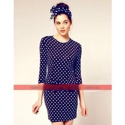 Forest Of Darama - 3/4-Sleeve Dotted Dress