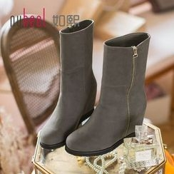 Nuheel - Genuine Suede Hidden Wedge Tall Boots