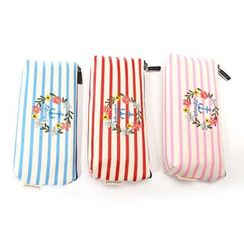 Bookuu - Striped Embroidered Pencil Case
