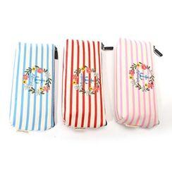 Bookuu - 條紋刺繡筆袋