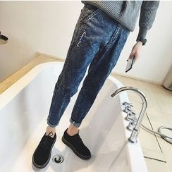 Bestrooy - Embroidered Washed Jeans