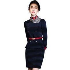Aision - Set: Buttoned Top + Pencil-Cut Skirt