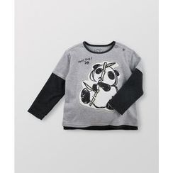 malimarihome - Kids Inset Sleeve Panda-Accent T-Shirt