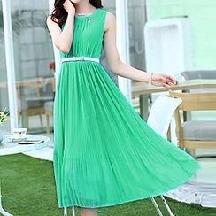 Hazie - Lace Panel Sleeveless Midi Chiffon Dress