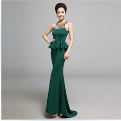 Posh Bride - Sleeveless Embellished Peplum Mermaid Evening Gown