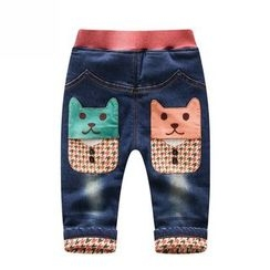 Endymion - Kids Star Embroidered Houndstooth Panel Jeans