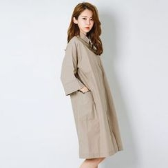 FASHION DIVA - 3/4-Sleeve Pocket-Side Shirtdress