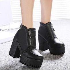 Mancienne - Platform Chunky-Heel Ankle Boots