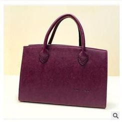 LineShow - Faux Leather Tote with Shoulder Strap