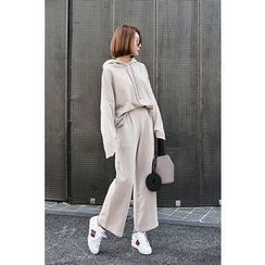 PPGIRL - Set: Hooded Loose-Fit Top + Band-Waist Pants