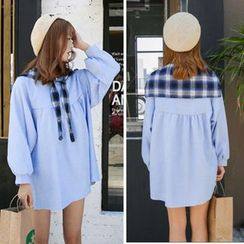 CHIH - Set: Plaid Tie Front Cape + Long Sleeve Mini Dress