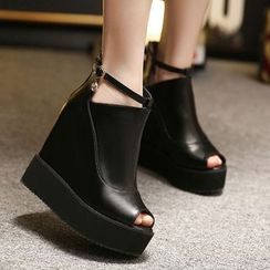 Monde - 露趾厚底及踝靴