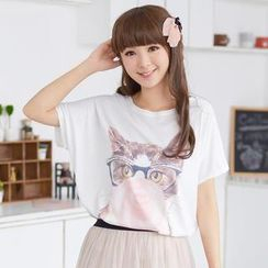 59 Seconds - Dolman Short-Sleeve Cat Print Top