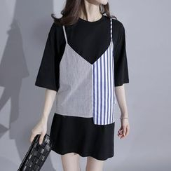 Sonne - Long T-Shirt with Striped Camisole