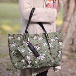 SUPER LOVER - Corduroy Print Tote Bag