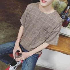ZZP HOMME - Short-Sleeve Plaid T-Shirt
