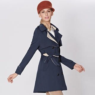 O.SA - Double-Breasted Tie-Waist Trench Coat
