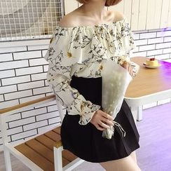 Mayflower - Floral Print Off-Shoulder Chiffon Top