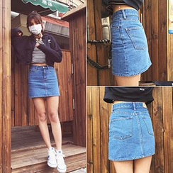 TriStyle - Denim A-Line Skirt