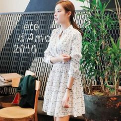 OTTI - Long-Sleeve Floral Chiffon Dress