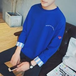 JUN.LEE - Heart Embroidered Striped Panel Pullover
